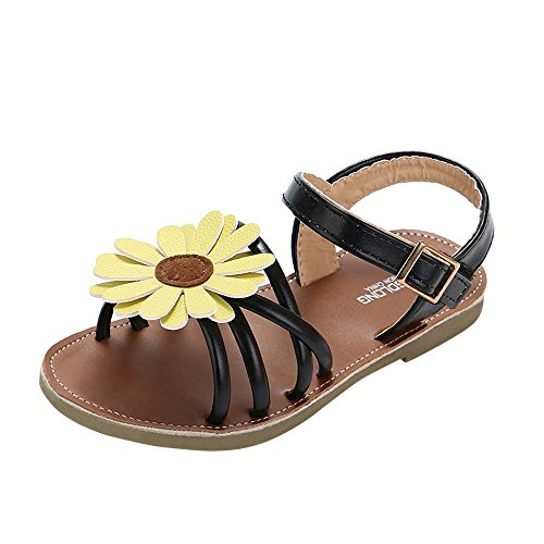 Haalife◕‿ Baby Girls Sandals Flower Summer Shoes Soft Sole T-Strap Toddler First Walker Crib Shoes Black (Top Ten Best Guitar Solos Of All Time)