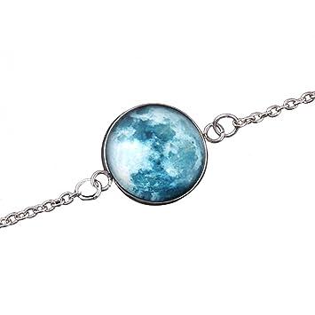 Livecity bracelet phosphorescent, cabochon en verre, motif lune, univers  fantastique long Couleur 1