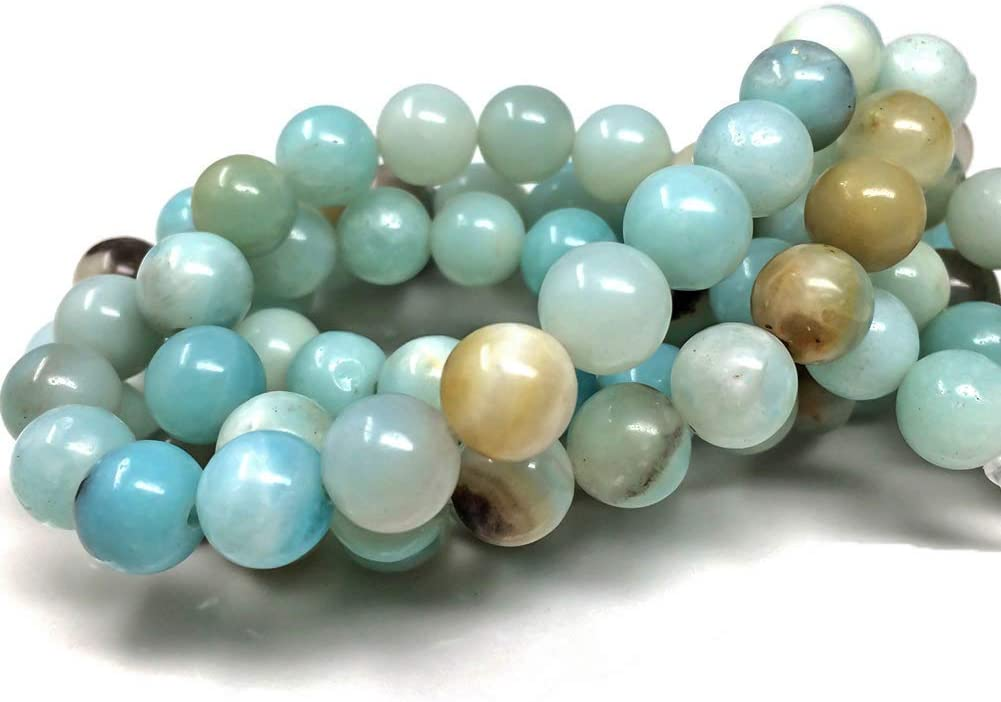 Chengmu 99pcs 8mm Mix Color Amazonite Beads For Jewelry Making Natural Gemstone Round Loose Stone Beads Assortments Supplies Accessories For Bracelet Necklace With Cord And Jewelry Bag And Red Box