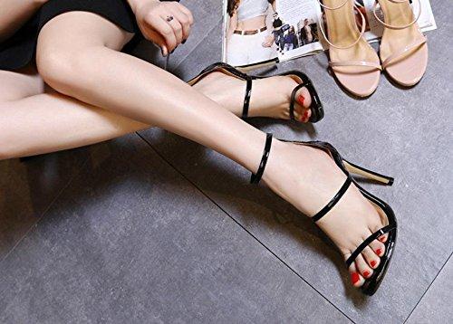 Damen Sandalen Stiletto High High High Heel Schuhe Peep Toe Reißverschluss Schwarz Sommer Party Abend, schwarz, EUR 39  UK 5 0c56cd