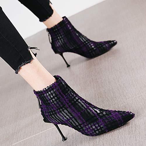 HRCxue Pumps Mode Plaid Spitze Stiletto Heels Reißverschluss Reißverschluss Reißverschluss Stiefelies nackte Stiefel Stiefeletten 0c624f