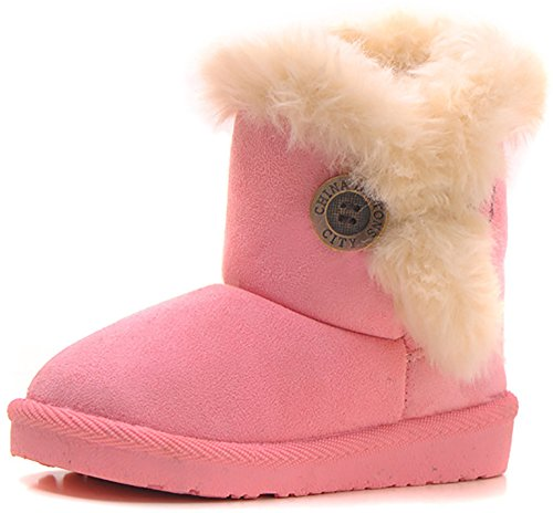 Poppin Kicks Girls Bailey Button Faux Shearling Fur Insulated Boots Pink 6 M US Toddler (Toddler Pink Cowboy Boots)