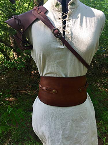Women's Braided Brown Leather Pauldron -
