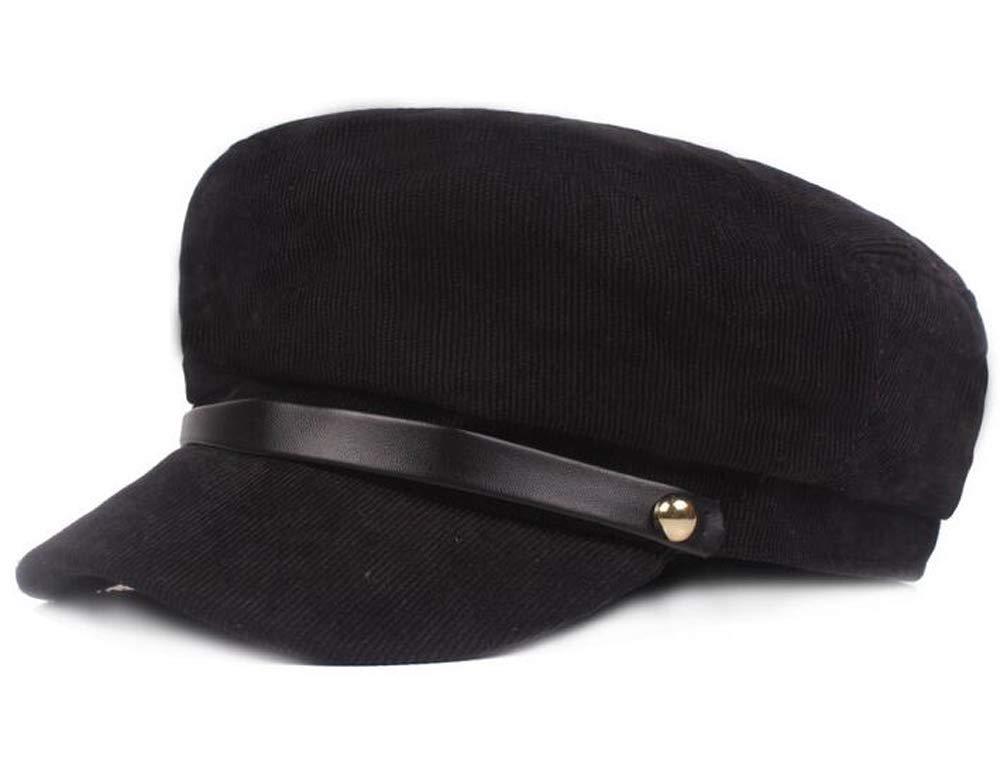 Qunson Women's Winter Warm Fisherman Fiddler Cap Newsboy Hat (Black)