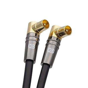 XO- Cable coaxial a?reo 10m Macho a Macho blindado TV/AV con 90 Grados de ?ngulo Recto, Conector de Metal para televisores UHF/RF, videograbadoras, ...