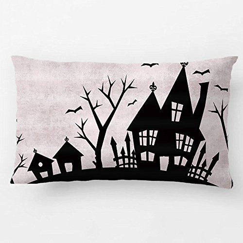 ALEX Throw Pillow Case Decorative Cushion Cover Cotton Polyester Sofa Rectangle Pillowcase Design With Spooky House Halloween Gray And Black Custom Pillow Case Print Double Side Sized 12X20 -