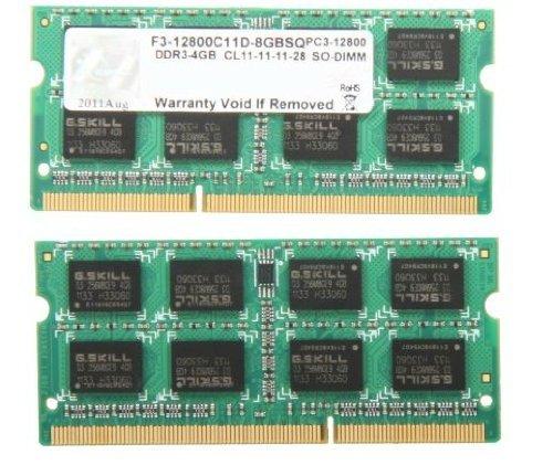 G.SKILL 8GB (2 x 4GB) 204-Pin DDR3 SO-DIMM DDR3 1600 (PC3 12800) Laptop Memory Model F3-12800CL11D-8GBSQ retail by G.Skill