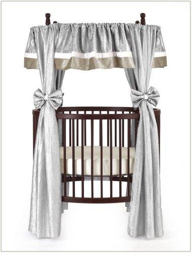 Baby Doll Bedding Crocodile Round Crib Curtain Set, Silver, 12 Piece by BabyDoll Bedding   B0030BZ8EO
