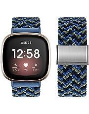 Vozehui Plecione paski z pętlą Solo kompatybilne z Fitbit Versa 3/Fitbit Sense, regulowany splot elastyczny miękki nylonowy sportowy pasek zastępczy opaska do Fitbit Versa 3, Fitbit Sense, kobiety mężczyźni