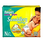 Pampers Swaddlers Newborn 80 Diapers (4 packs of 20)