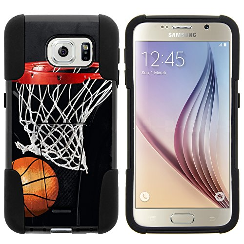 Galaxy S6 Case, Dual Layer Shell STRIKE Impact Kickstand Case with Unique Graphic Images for Samsung Galaxy S6 VI SM-G920 (T Mobile, Sprint, AT&T, US Cellular, Verizon) from MINITURTLE | Includes Clear Screen Protector and Stylus Pen - Basketball Swish