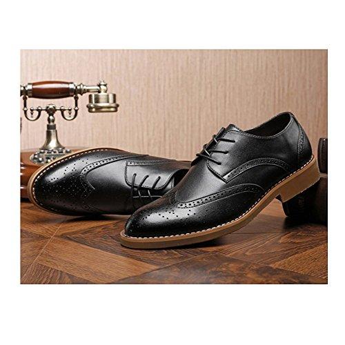 Gentleman Casual Lace Mode Bullock Business Chaussures NIUWJ Jeunes Sculpté Black Cuir en Hommes 8wE0U0