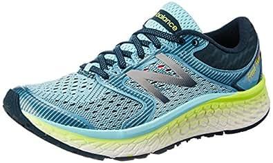 New Balance Women's Fresh Foam 1080v7 Running Shoe, Ozone Blue Glow/Lime Glow, 5 D US