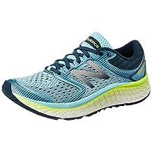 New Balance Women's W1080 Shoe, Ozone Blue Glow/Lime Glow, 5 2E US