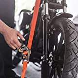 Badass Moto Gear 15' 4400 Lb Max Heavy Duty Ratchet Straps 2 Pack, Double J Hooks, Smart Ratcheting Tie Downs Set for Motorcycle, Cargo, Trailer, Truck. EZ Grip Padded Handle, Free Bonus Storage Bag