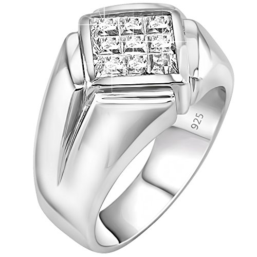 - Men's Classy and Elegant Sterling Silver .925 Ring with Invisible Set Look Princess-Cut Cubic Zirconia (CZ) Stone, Platinum Plated Jewelry