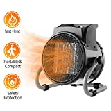 DAHTEC Fan Forced Ceramic Electric Heater with Adjustable Thermostat Portable 20/750/1500W Mini Air Heater Space Heater