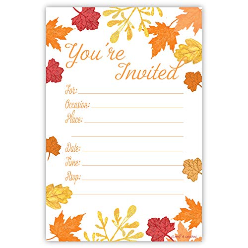 - Fall Leaves Fill In Invitations - Wedding, Bridal Shower, Baby Shower, Engagement Party, Birthday - (20 Count) With Envelopes