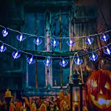UJoowalk Halloween String Lights, 14.5 ft 30 LED Blue Bat Decoration with Battery Operated Lighting Strings for Outdoor Yard Window Decorate