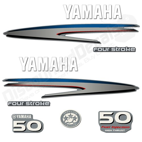 Yamaha 50hp 4-Stroke High Thrust Decal Kit 4-Stroke Decals Stickers 50 HP (50 Decal)
