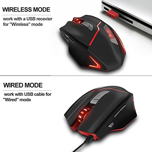 Zelotes Rechargeable Wireless Mouse with USB Receiver,600/1000/1600/2000/2400/3200DPI,7 Buttons 2.4GHz Portable Mobile Computer Wired Gaming Mice for Gamer,PC,Mac,Laptop,Macbook,Black by Zelotes (Image #2)