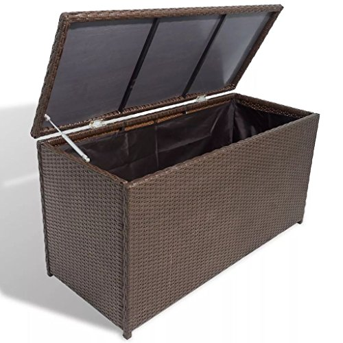 Festnight Outdoor Patio Garden Wicker Storage Chest for Cushions, Pillows, Pool Accessories Poly Rattan