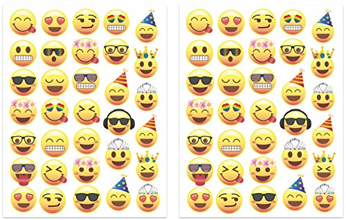 [Party Emoji Temporary Tattoos, 66 Emoji Face Designs (1.2 – 1.6 inches) Fun Birthday Party Favors, Made in] (Tattoos Of Princess Crowns)