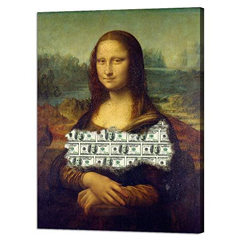 Modern Inspirational Canvas Wall Art Money Millionaire Motivational Painting Dollars Inspiration Motivation Posters Millions Pop Culture Leonardo Da Vinci Artwork Decor for Office Home (18