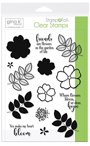 Gina K. Designs StampnFoil Clear Stamps (Where Flowers Bloom) - Foam Stamps Flowers
