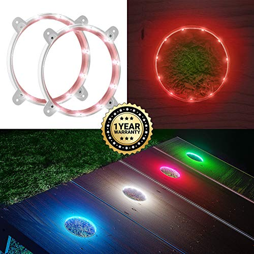 IMMOBIUS Cornhole LED Board Lights so You Can Play at Night! (Set of 2) -Choose from White or Blue- 1 Year Replacement Warranty, Sturdy Build, Lasts 60+ Hours on 2 AA Batteries! (Red)
