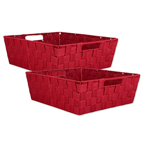DII Durable Trapezoid Woven Nylon Storage Bin or Basket for Organizing Your Home, Office, or Closets (Tray – 13x15x5″) Red – Set of 2