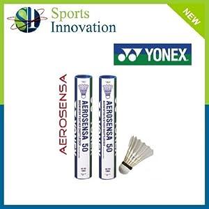 24x YONEX Aerosensa 50 Goose Feather Badminton Shuttles (2x Pk12 White