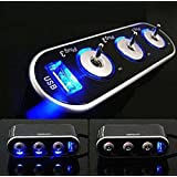 Carejoy シガーソケット カーシガレット usbインタフェース 12Vのシガーソケット対応 LEDライトスイッチ