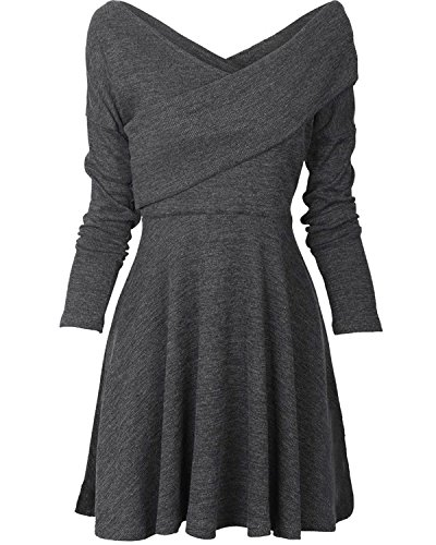 Casual Long Dress Fit Pullover Swing Wrap Temptme Midi Jersey Sleeve Grey Warm Womens Slim 5Rxw77Utq