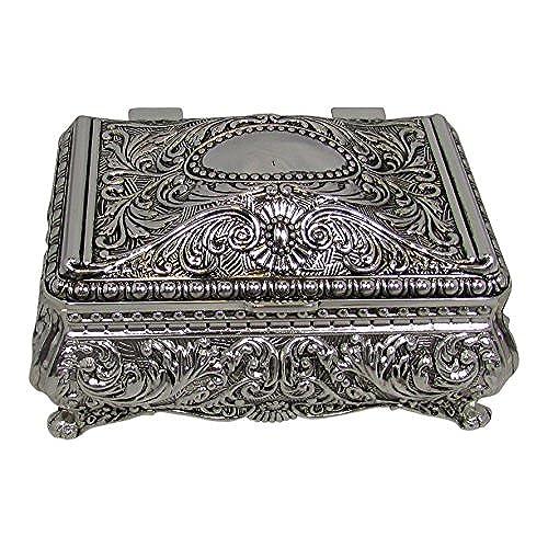 Ornate Antique Finish Rectangular Trinket Jewelry Box