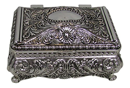 Antique Silver Jewelry Boxes - Ornate Antique Finish Rectangular Trinket Jewelry Box - 3.5