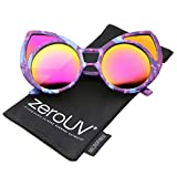 Womens Oversize Colored Frame Mirror Lens Cat Eye Sunglasses 52mm