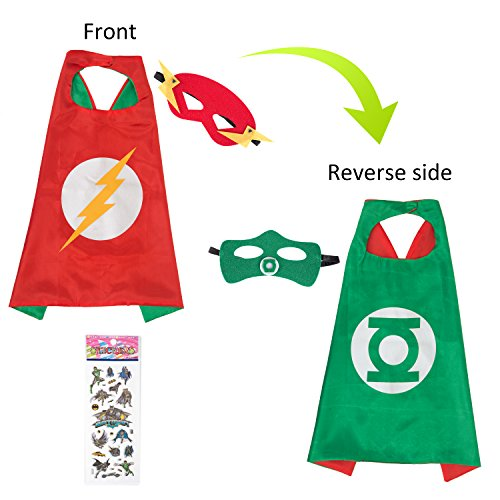 MIJOYEE Superhero Capes and Mask Costumes for Kids,Cartoon Dress up (Flash and Green Lantern - Boys) -