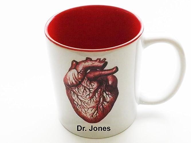 Amazoncom Personalized 11 Oz Red Anatomical Heart Mug Medical