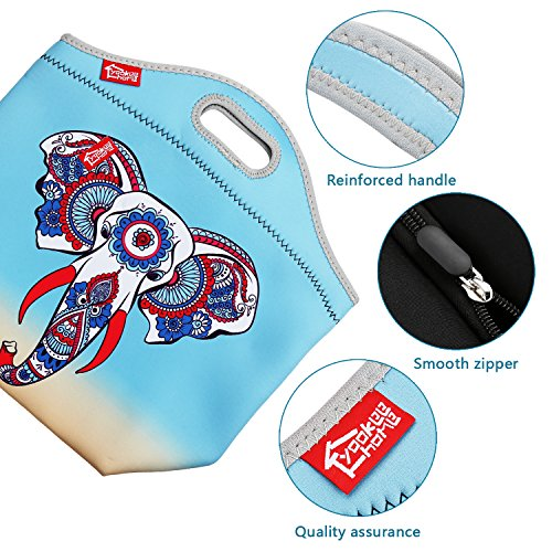 Lunch Bag Neoprene Insulated lunch tote Large Lunchbox Women Girls, Waterproof Reusable Thermal Lunch Cooler Bag, Colorful Elephant
