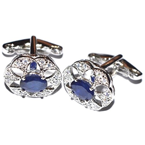 Wedding Engagement Party Jewelry - 925 Sterling Silver Lab Diamond Sapphire Father Gift Cufflinks Men Jewelry For Him