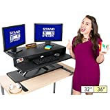 Stand Steady FlexPro Air Standing Desk - Precision Desk Converter w/ Hydraulic Lift Assist (Sit or Stand!)- Instantly Change Any Surface to a Stand Up Desk! No Assembly Required! (36 inch)