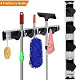 GinCuky Mop and Broom Holder, Aluminium Alloy and ABS Material, Storage Solutions for Broom Organizer, Garage Organizer, Garden Tool Storage (4 Position 5 Hooks)