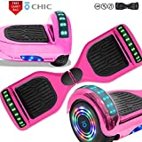 CHO POWER SPORTS Hoverboard 6.5' inch Wheel Electric Smart Self Balancing Scooter with Built-in Wireless Speaker Shiny LED Wheels and Side Lights Safety Certified (Chrome Pink)