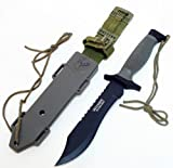 Defender Elite Forces 12-inch Black Survival Bowie Stainless Steel Hunting Knife