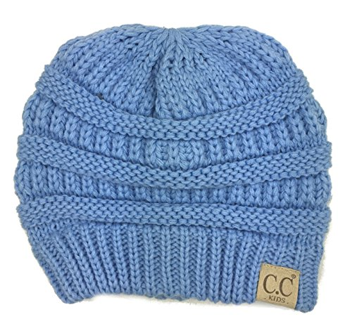 Blue Kids Beanie (Plum Feathers Chunky Thick Stretchy Knit Slouch Beanie Cap Hat For Kids Ages 2-7 (Pale Blue))