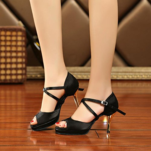 Dance Shoe A Black Fabric Sandal Cuban Leather Shoes Heel Heel Performance amp; Party Buckle Evening Latin Women's wvqPpC