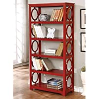 Furniture of America Ludie 5 Shelf Bookcase in Red