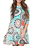 Best Dress Women Products - Women's 3/4 Sleeve Damask Floral Printed Tunic Dress Review