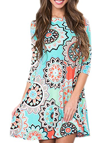 Women's 3/4 Sleeve Damask Floral Printed Tunic Dress Bohemian Swing Casual Midi Dress with Pocket Tunic Blouses for Leggings (Large, Green)